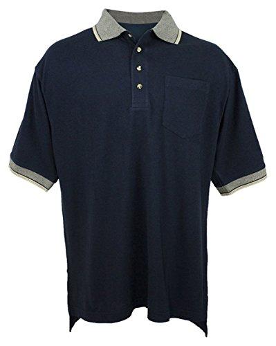 Tri Mountain Mens Golf Cut Jacuqard Knit Shirt   197 Mercury  Navy Khaki  X Large