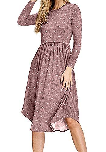 (Simier Fariry Women Long Sleeve Polka Dot Pocket Loose Casual Midi Dress Coffee)