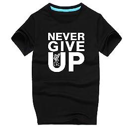 Tee-Shirt Liverpool Never Give Up Up BLACKB M.Salah Manches Courtes, Vous ne marcherez jamais Seul pour Un Adulte Unisexe