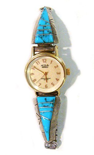 Zuni Watch Signed B Sterling Silver With Turquoise Inlays
