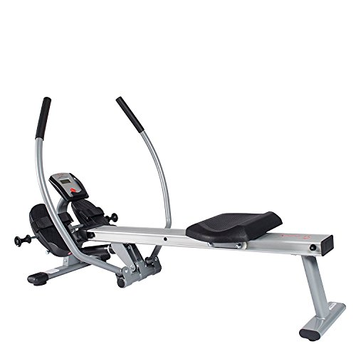 Sunny Health & Fitness Full Motion Rowing Machine with High Weight Capacity, LCD Monitor and Aluminum Slide Rail - SF-RW5727 by Sunny Health & Fitness