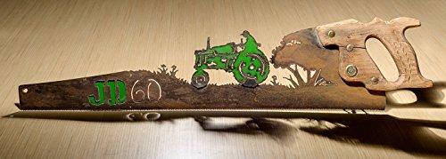 GREEN Metal Art John Deere # 60 Tractor Farming - Hand (plasma) cut handsaw | Wall Decor | Garden Art | Recycled Art | Re-purposed - Made to Order | Plasma Cut Metal Art