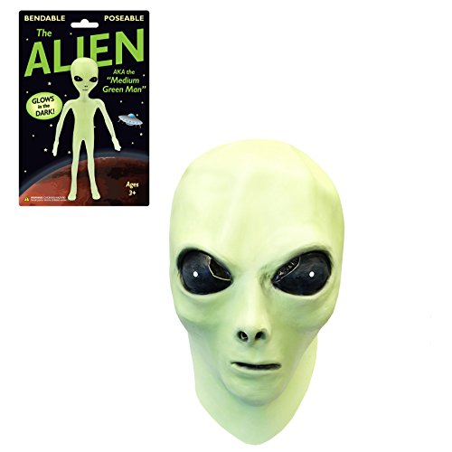 [Glow in the Dark Alien Face Mask with Alien Bendable Toy] (Aliens Costume)