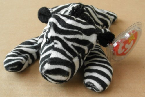 Ziggy Zebra - TY Beanie Babies Ziggy the Zebra Stuffed Animal Plush Toy - 6 inches long - Black/White Stripes