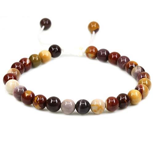 Amandastone Natural Mookaite Jasper Gemstone 6mm Round Beads Adjustable Bracelet 7