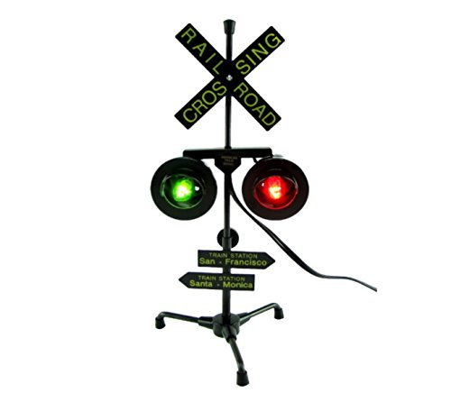 Play Kreative Railroad Train/Track Crossing Sign with Flashing Lights - Flashing Red and Green Train Signal Lights Decoration and (American Crossing Home Office Desk)