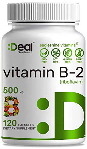 Deal Supplement Super Strength Vitamin B2 (Riboflavin) 500mg, 120 Capsules, Energy Production & Prevent Migraine Headaches, Non-GMO, Gluten Free, High Absorption.