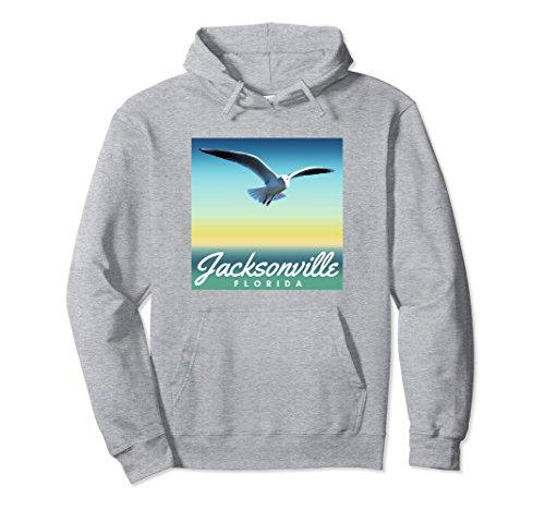 Sea Gull Sweatshirt (Unisex Jacksonville FL Hoodie, Seagull Florida Beach Pullover Large Heather Grey)