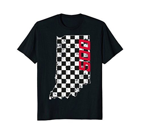 Indiana State Checkered Flag with Number 500 Vintage Grunge