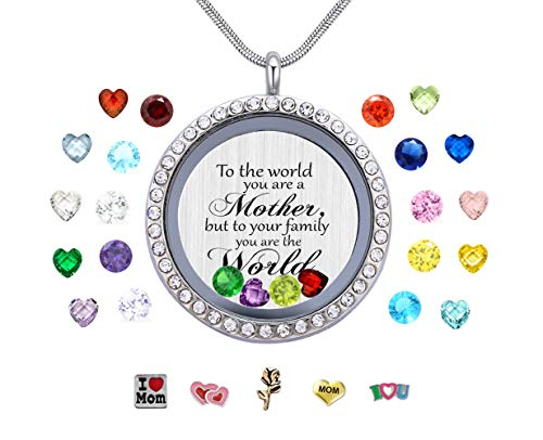 Vinncy to The World You are a Mother. Floating Memory Living Charms Lockets, Love Mother DIY Stainless Steel Pendant Necklace, Best Gift -