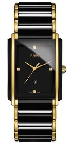 (Rado Integral L Jubile Black Dial Ceramic SS Quartz Male Watch R20204712)