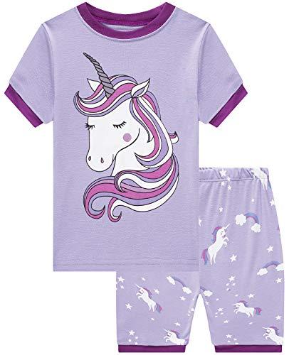Girls Short Pajamas Unicorn Pjs Toddler Pjs Clothes Kids Sleepwear Summer Shirts Size 10 -