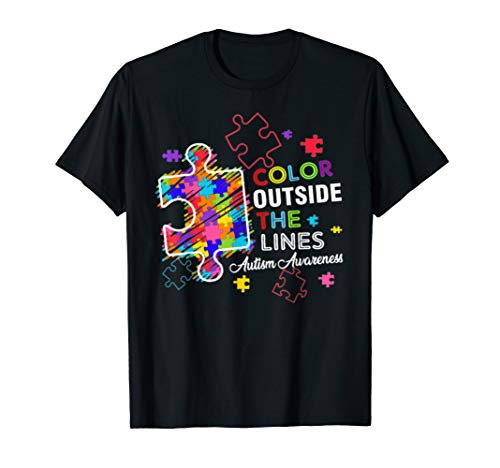 Autism Awareness T shirt Colour Outside The Line for $<!--$16.99-->