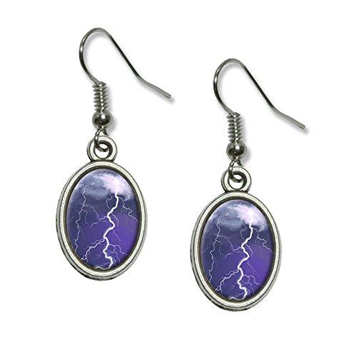 [Lightning Storm - Thunder Sky Weather Novelty Dangling Drop Oval Charm Earrings] (Thunder Lightning Costume)