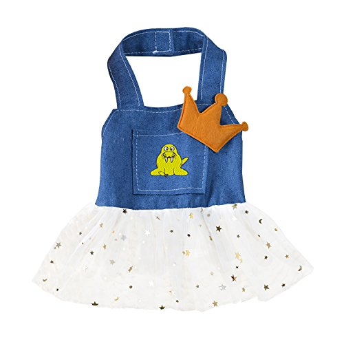 Cute Dog Clothes Pet Dog Costume T shirt Skirt Walrus cartoon Embroidery (Walrus Dog Costume)
