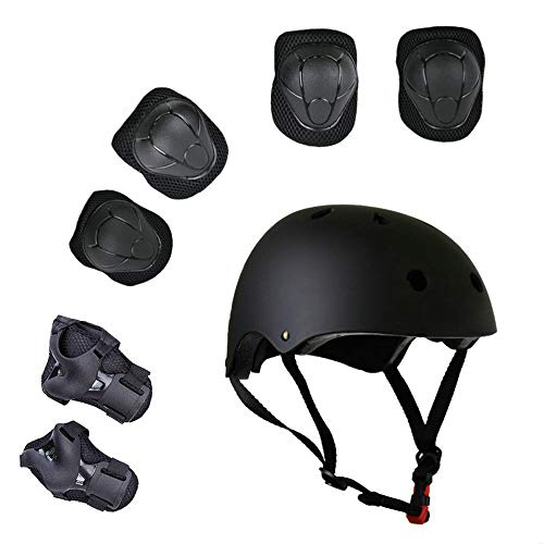 Lucky-M Kids Outdoor Sports Protective Gear,Boys and Girls Safety Pads Set [Helmet,Knee&Elbow Pads and Wrist Guards] for Roller, Scooter, Skateboard, Bicycle(3-8 Years Old)(Black) ()