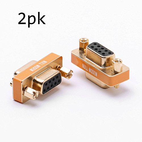 DB9 null modem adapter female to female slimline data transfer serial port adapter gold plated 2 - Modem Data