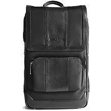 Waterproof Laptop Backpack 17-inch Leather Business Work College School Travel for Women / Men (Black)