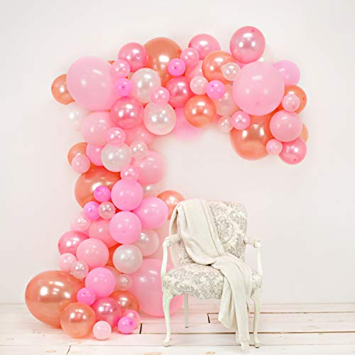 JUNIBEL Balloon Arch & Garland Kit | 90 Pink, Blush, Rose Gold & White Sm to Xlrge balloons | Glue Dots | 17' Decorating Strip | Wedding, Baby Shower, Graduation, Anniversary Organic Party Decorations ()