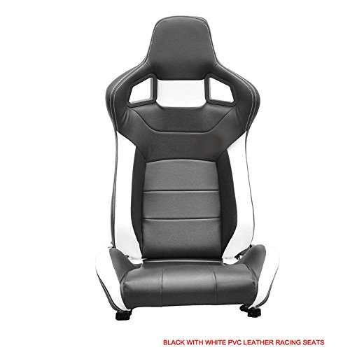 Pvc Seat White (A Pair Reclinable Sport Racing Seats PVC Leather Black White & Slider)