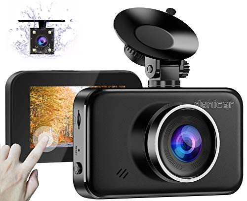 Denicer Dual Car Dash Cam Front and Rear [Upgrade V2.0] Full HD 1080P Camera for Cars 3″ IPS High Definition Touch Screen DVR Recorder with Back Camera, Parking Monitor, Motion Detection, WDR, G-Senso