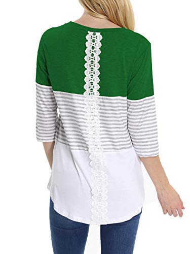INWECH Womens 3/4 Sleeve Back Lace Color Block Tops Round Neck Striped T-Shirts Blouses (Green, Large)