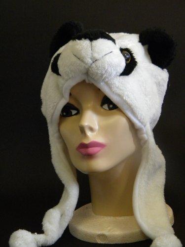 Gold Medal White Black Panda Bear Faux Fur Plush Hat Boys Girls -