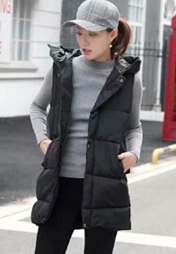 Quilted Vest Hoodie Jacket Black Thicken Womens EKU Outdoors Winter Puffer 4Ux8085Wn