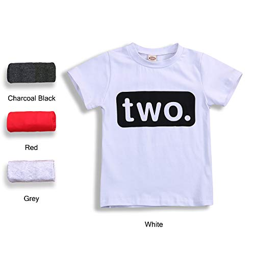 (2nd Birthday T-Shirt Toddler Kids Boy Outfits Two Year Old Top Clothes (2 T, White))