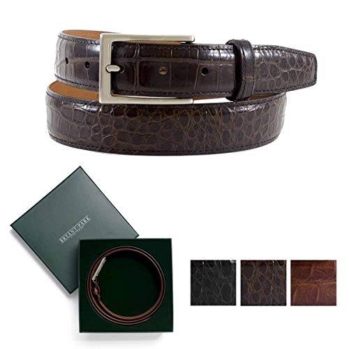 BRYANT PARK Semi-Shiny Alligator Dress Belt, Genuine Alligator 1.5