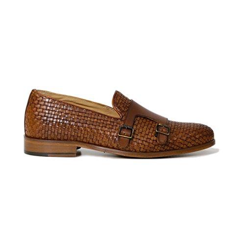 Scarpe Artigianali Uomo Doppia Fibbia di Colore Cuoio Calzature Italiane 100% Vera Pelle Loafer Shoes Double Monkstrap Made in Italy