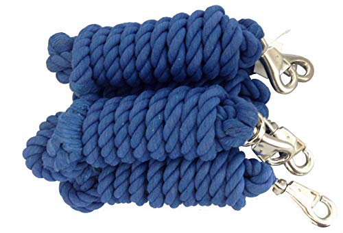 "AJ Tack Wholesale Lot of Five 10' x 3/4"" Cotton Horse Lead Ropes Heavy Duty Bull Snap from AJ Tack Wholesale"