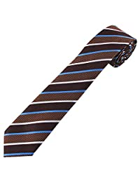 Jacob Alexander Boys' Prep Honor Diagonal Striped Neck Tie - Brown and Blue