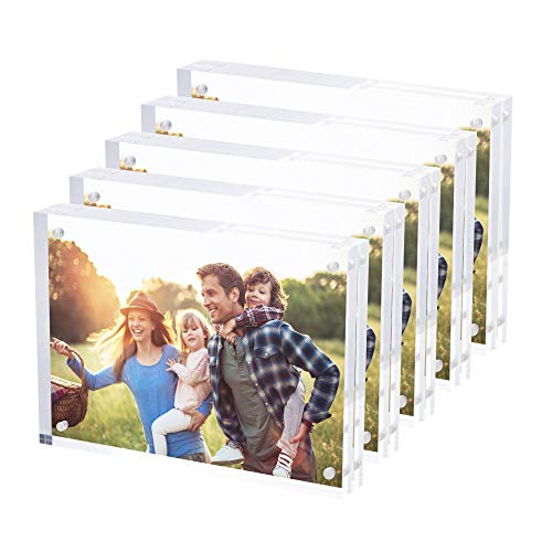 Acrylic Award Frame - SimbaLux Magnetic Acrylic Picture Photo Frame 5x7 inches (5 Pack), Clear Glass Like, Double Sided Frameless Desktop Floating Display, Free Standing, Easy Change, for Family, Postcards, 2.4cm Thick