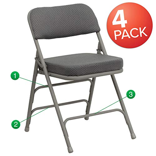 (Flash Furniture 4 Pk. HERCULES Series Premium Curved Triple Braced & Double Hinged Gray Fabric Metal Folding Chair)