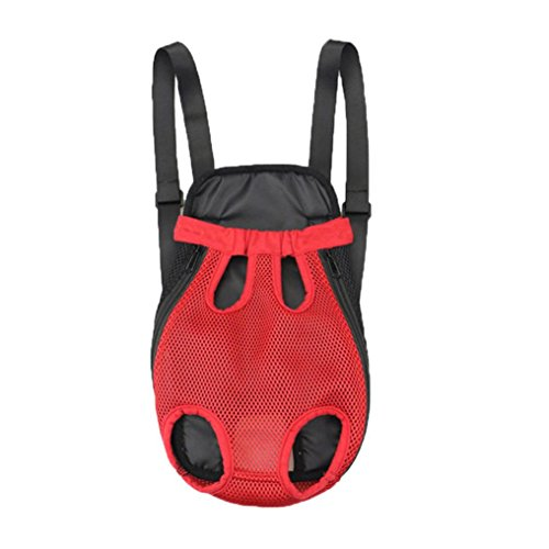 Price comparison product image COPPEN 2018 New Nylon Mesh Useful Pet Puppy Cute Dog Cat Carrier Backpack Front Net Bag Tote Sling Carrier (red,  S)