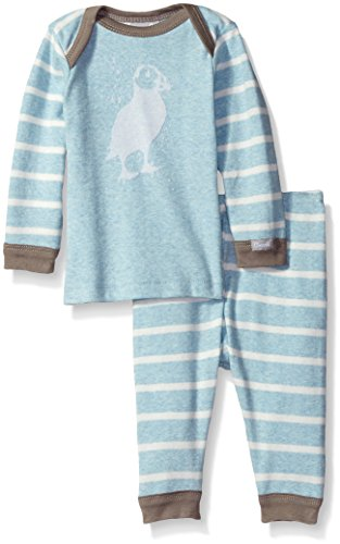 lue Contrast Rib Knit Cotton 2 Piece Set, Heather Blue/Cream Stripes, 12 Months ()