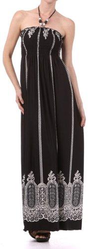 Halter Bodice Dress (Sakkas FO35B7931 - Vertical Stripes Print Beaded Halter Smocked Bodice Long/Maxi Dress (Various Colors/Sizes) - Black/Small)