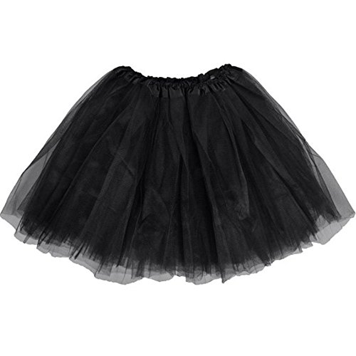 BellaSous Top Rated Classic Elastic Ballet-Style Adult Tutu Skirt, Great princess tutu, adult dance skirt, petticoat skirt or pettiskirt tutu for women. Tulle fabric - Black tutu
