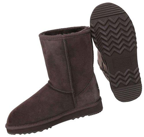 Damen Schuhe Stiefeletten Warm Gefütterte Leder Boots Modell Nr.1 Dunkelbraun