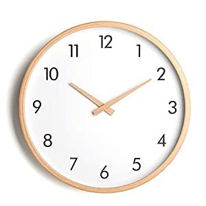 Relojes Reloj de Pared de Madera Maciza Simple Espejo de Cristal Redondo PVC dial Sala de Estar Inicio Reloj de Cuarzo 1 sección 5ª batería Sala de Estar Cocina Dormitorio Oficina 3