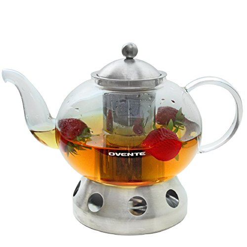 Ovente Glass Teapot, 51 oz, with Stainless Steel Mesh Filter, Heat Tempered Borosilicate Glass with Stainless Steel Teapot Warmer (FGD51T)