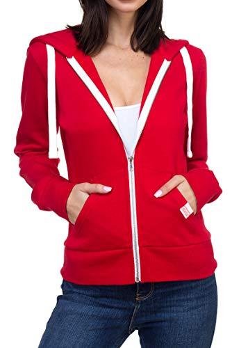 Urban Look Womens Active Long Sleeve Fleece Zip Up Hoodie with Plus Sizes (Medium, B1 Solid Red)