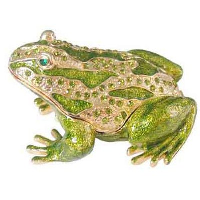 Frog Trinket Box Swarovski Crystals ([NEW] Jewelry Trinket Box Figurine Case Vintage Collectible for Keepsake Art Decor Holder Organizer Pill Box - Magnet Secured Storage, Jeweled w/ Swarovski Crystals ( Frogs ) (Green Bronze Frog))