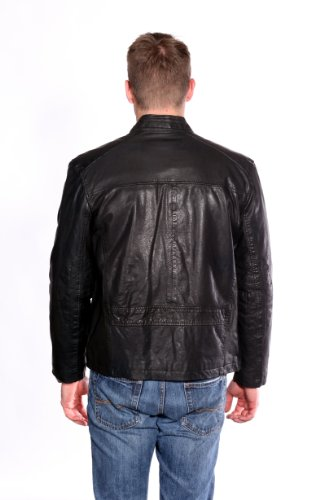 Andrew Marc Men's Leather Coat Bomber Jacket Black Size L