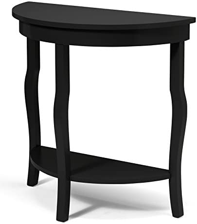 Kate and Laurel Lillian Wood Half Moon Console Table Curved Leg