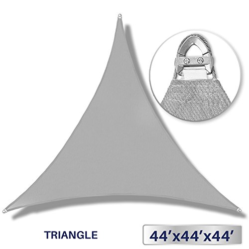 Windscreen4less A-Ring Reinforcement Large Sun Shade Sail 44' x 44' x 44' Rectangle Super Heavy Duty Strengthen Durable(260GSM)-Galvanized Cable Enhanced - Light Grey / 7 Year Warranty ()