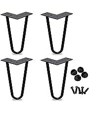 ERWUDEling, Haarspeld Tafelpoten Meubelpoten Staal 20cm (8inch), voor Tafelmeubilair Dubbele Las Zwart, DIY Set voor 4 (12mm)