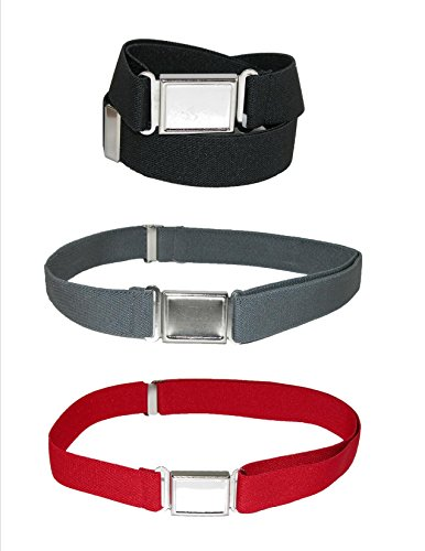 Toddler Adjustable Elastic Belts (CTM Kids' Elastic Adjustable Belt with Magnetic Buckle (Pack of 3 Colors))