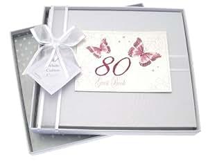 White Cotton Cards - Libro de invitados de celebración de 80º cumpleaños, diseño de mariposas